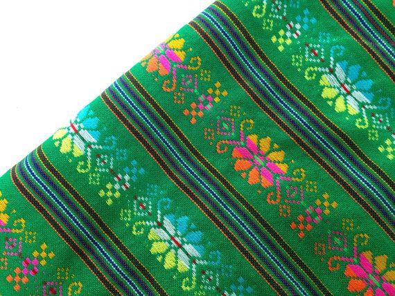 Green Mexican Fabric - One Yard - Aztec Tribal Pattern -  Cambaya Wedding Material by the Yard Fiesta