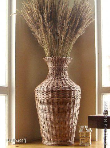 Поделка изделие Плетение Ох уж эти вазы  Бумага газетная Трубочки бумажные фото 4