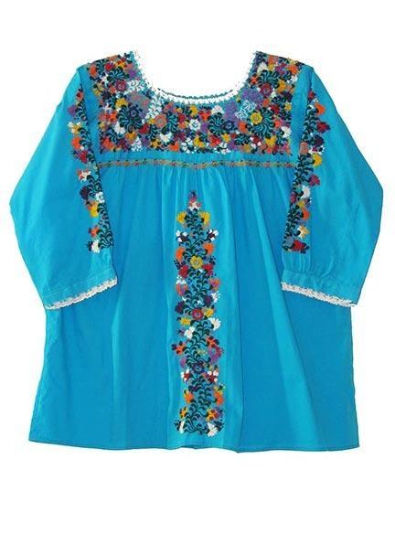 Oaxaca San Antonio Turquoise Mexican Blouse | Women's ...
