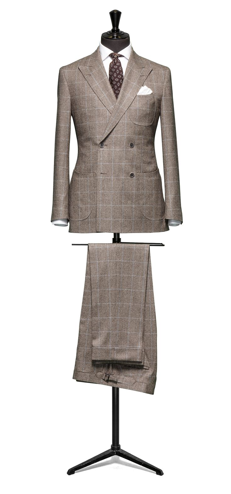 Brown suit Houndstooth blue windowpane S120 http://www.tailormadelondon.com/shop/tailored-suit-fabric-4358-houndstooth-check-brown/