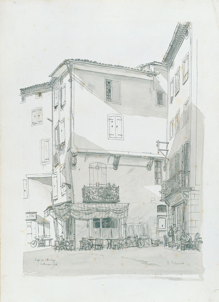 Cafe de l' Horloge, Siserton (1938), Randolph Schwabe, Pen and wash on paper, on loan from the Waterford Municipal Art Collection. Selected by Emma Marshall.