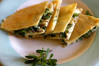 Purslane Quesadilla - something to do with all the purslane from my CSA!