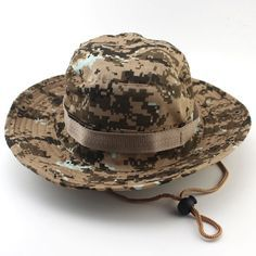 Men Military Camo Hat with String
