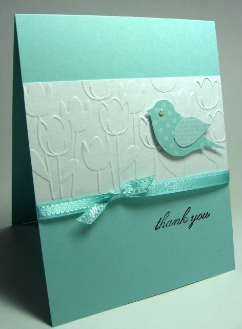 handmade card ... clean and simple ... aqua and white ... two-step bird in same tone printed papers ... tulip embossing folder on main white panel ... sweet card ... Stampin' Up!