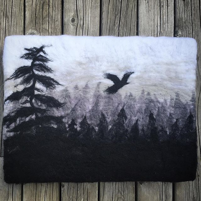 """Morning Flight"", wool painting. 12 X 16.  Getting caught up on some mounting today.  #blackandwhite #sombrebw #forest #landscape #rustic #wallart #woolpainting #wool #needlefelted #wetfelted #feltartist #etsy #etsycanada #raven #crow #morningflight"
