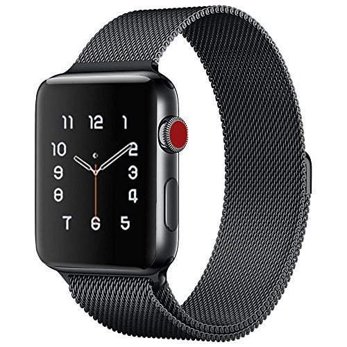 Lelong for Apple Watch BandMilanese Loop Fully Magnetic Clasp Stainless Steel Mesh iWatch Band for Apple Watch Series 3 Series 2 Series 1 Sport & Edition- 38mm Black