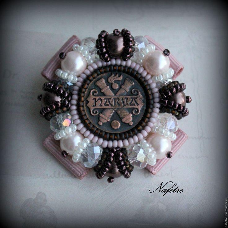 Купить Брошь из бисера,брошь-орден,брошь с_жемчугом - бледно-розовый, брошь ручной работы