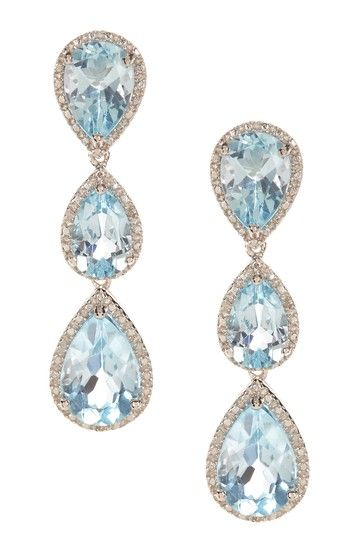 Blue Topaz and Diamond Teardrop Earrings by Best Silver Inc. on HauteLook