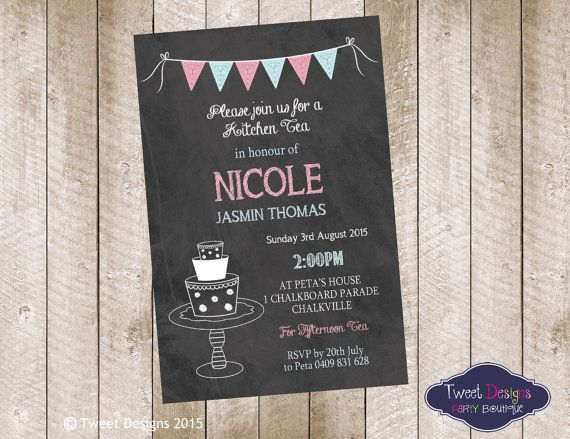 tea invitation printable kitchen tea invitation chalk kitchen tea