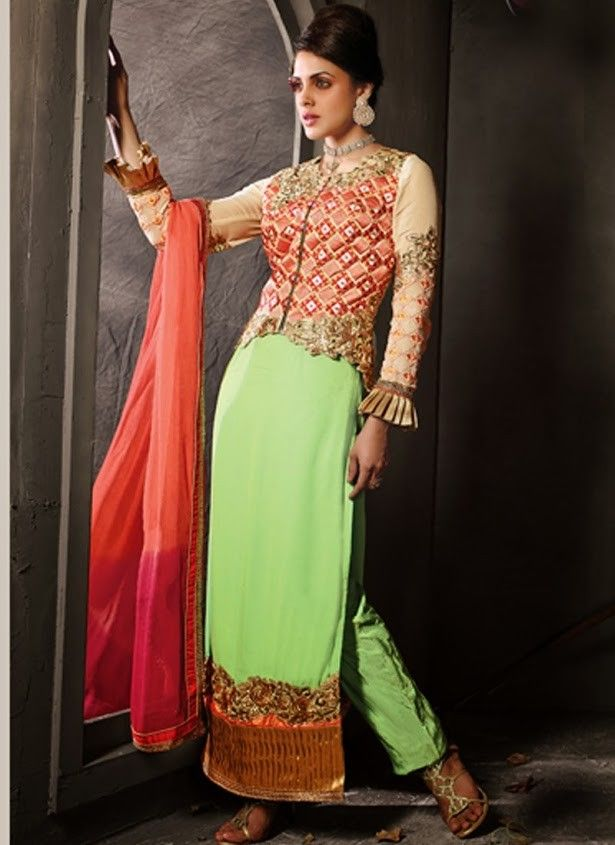Heavy Work Long Designer Neck Style Salwar Suit With Dupatta