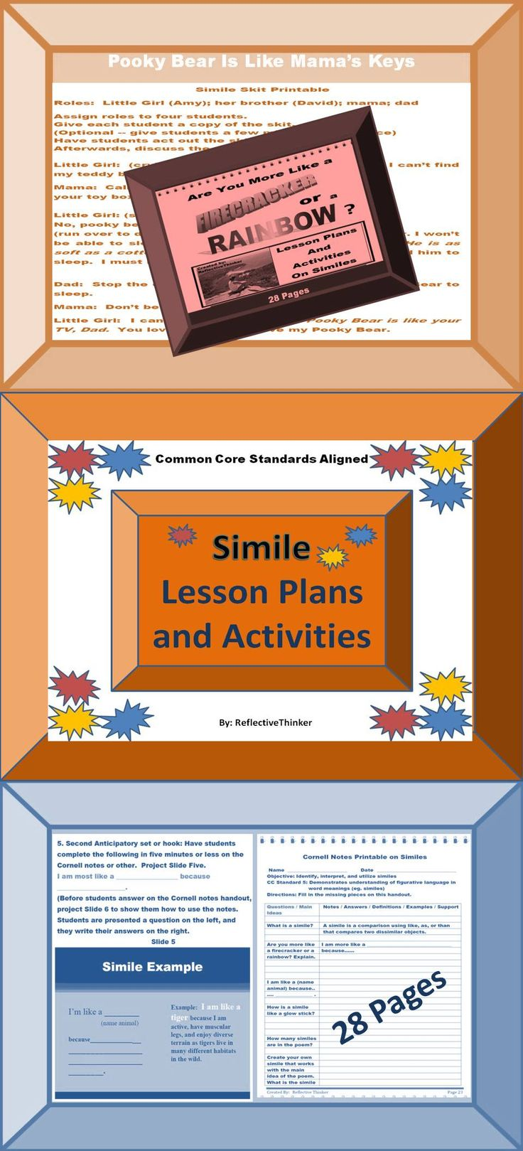 These in-depth, well-organized lesson plans (28 pages) on similes include Common Core Standards, lesson objectives, 21 slides for PowerPoint or Smartboard, two anticipatory hooks, a simile skit, a simile song, a simile poem, a simile mad lib, guided practice, independent practice, concrete examples, choices for students, differentiated learning ideas, cooperative learning ideas, how to incorporate Cornell note-taking graphic organizer, a bulletin board idea, and four printables.