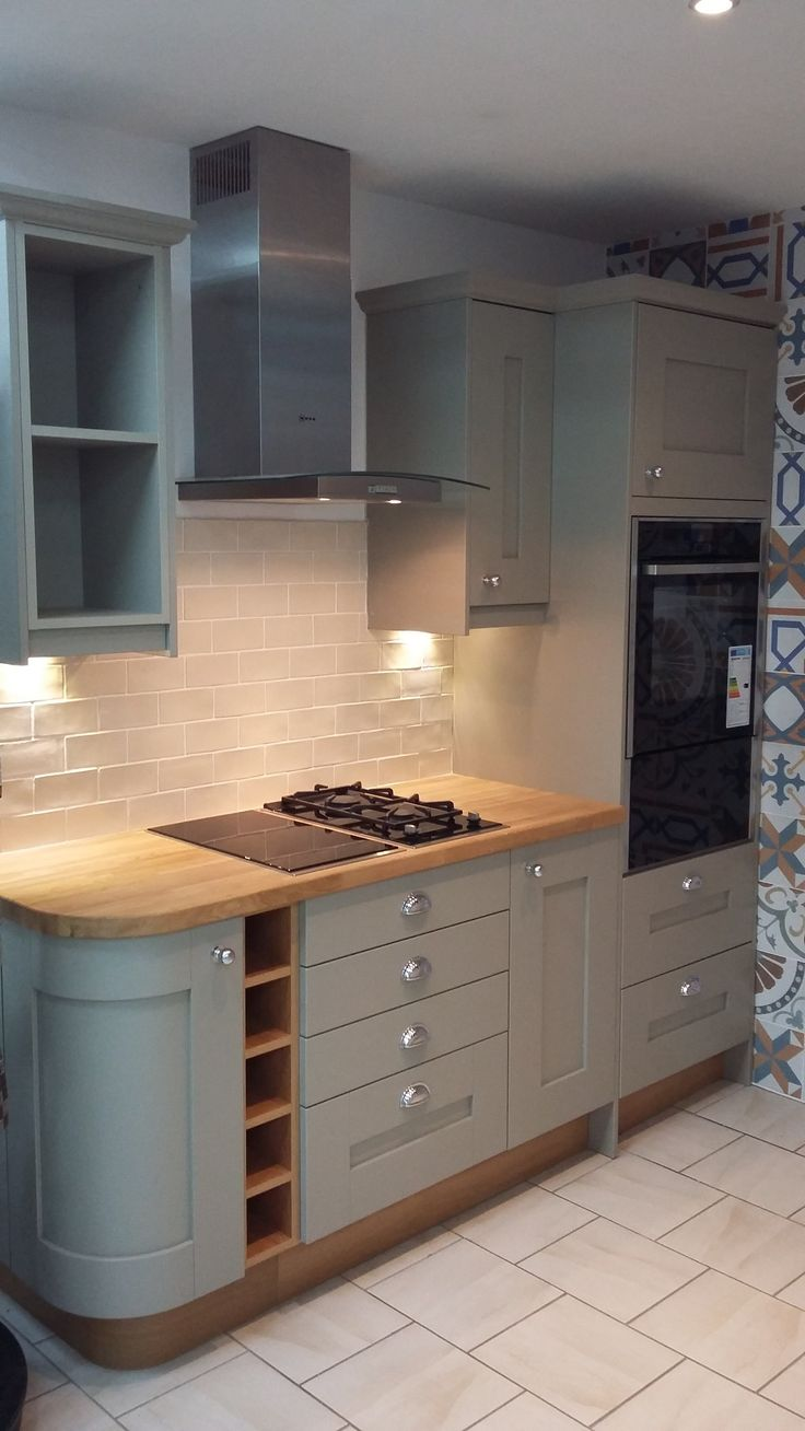 STUDIO York Painted to Order Kitchen in Dakar with Solid Oak hardwood Worktops & Chrome Knob & Cup handles on display in our Minehead Showroom in West Somerset