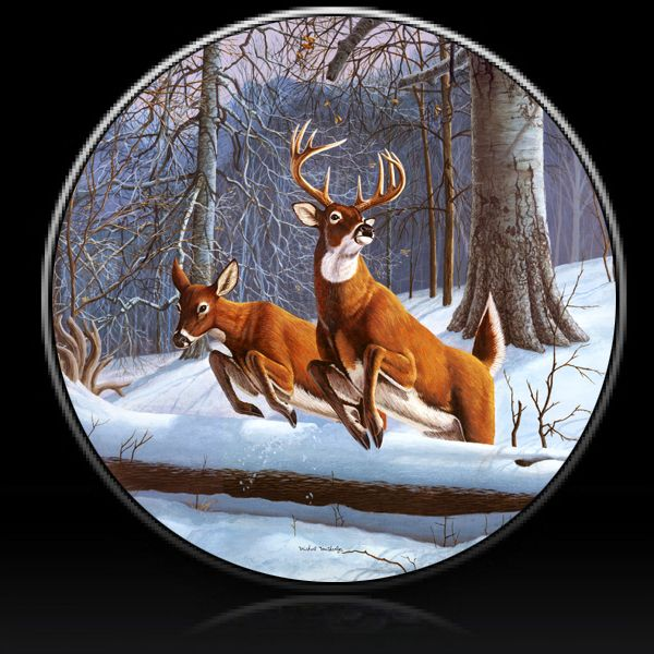 Deer Winter Whitetails Spare Tire Cover Custom Tire Covers Tire