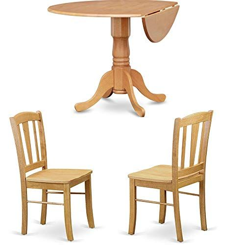 Efd Expandable Dining Set With Round Table And Four Chairs Oak
