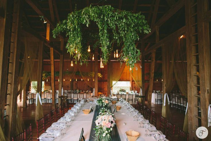 Could help soften all the rustic brown branches...some greenery on a chandelier?