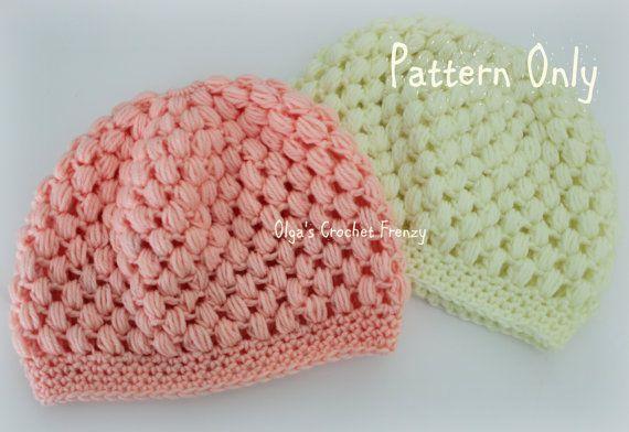 Crochet Hat Pattern With Puff Stitch : Puff Stitch Baby Beanie Crochet Pattern, Size 3-6 Months ...