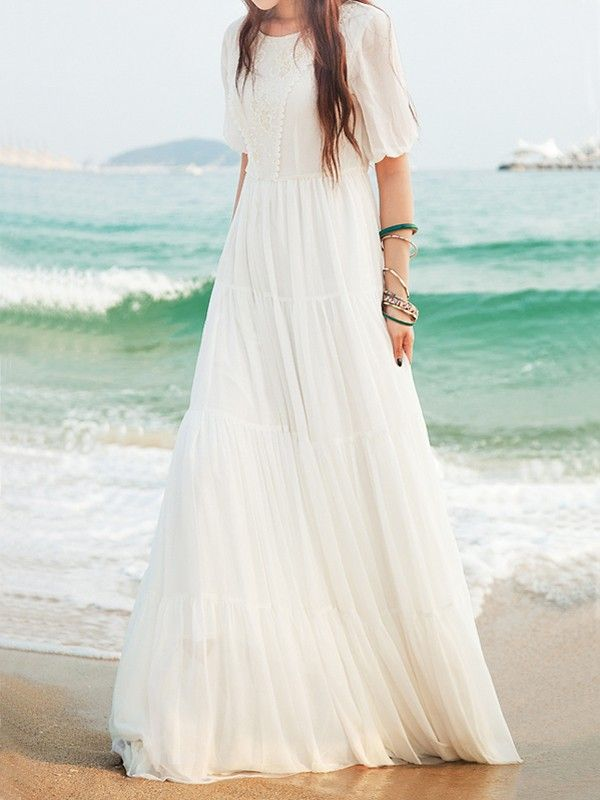 1a826eee3789a White Lace Side Pull Round Neck High Waisted Bohemian Elegant Maxi Dress - Maxi  Dresses - Dresses
