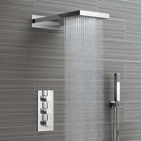 220mm Waterfall & Rainfall Wall Mounted Shower Head & Thermostatic Mixer - 3 Way