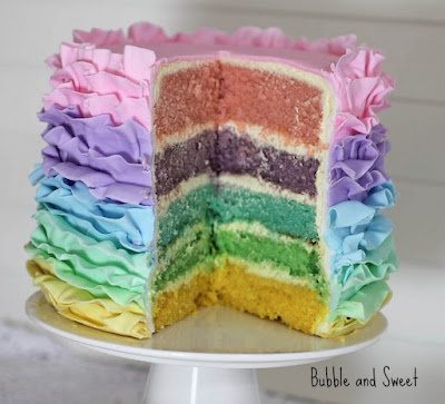 Might have to make this for Easter. 2 boxes of vanilla cake mixes, food coloring, 2 cans of frosting. Be creative :)
