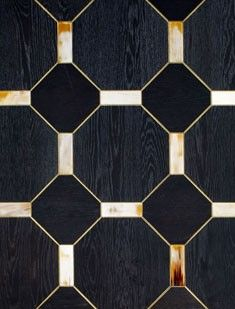 Black Painted Oak Wood Flooring with Gilded Profile and Horn Tiles arca flooring
