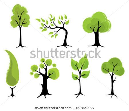 Abstract trees - stock vector