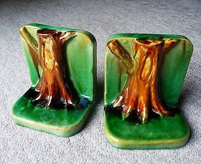 Rare McHugh Pottery Tree Trunk Bookends