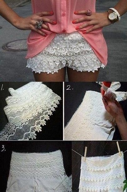 Love Lace?  Add a little lace to your shorts  make it prettier!  Find Tops to go with these cute shorts at http://prettysecrets.com/apparel-clothes/tops Image Courtesy: Pinterest