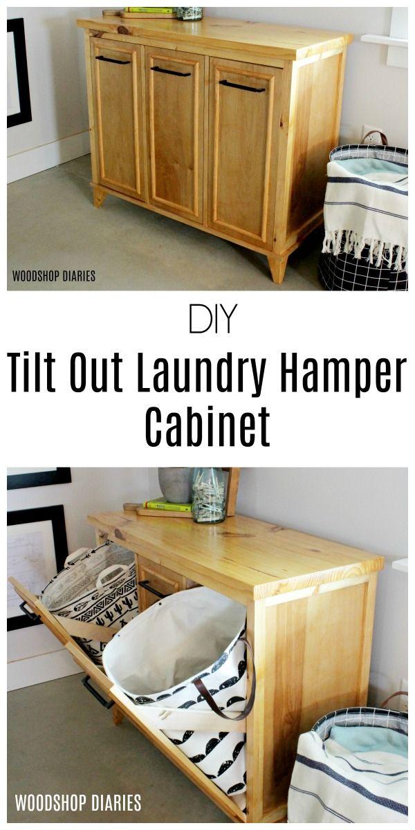 Diy Tilt Out Laundry Hamper Cabinet Free Building Plans And Video Tilt Out Laundry Hamper Laundry Hamper Cabinet Hamper Cabinet