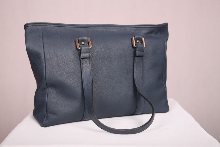 Navy premium leather everyday tote handcrafted in Australia by Louis Ferrier