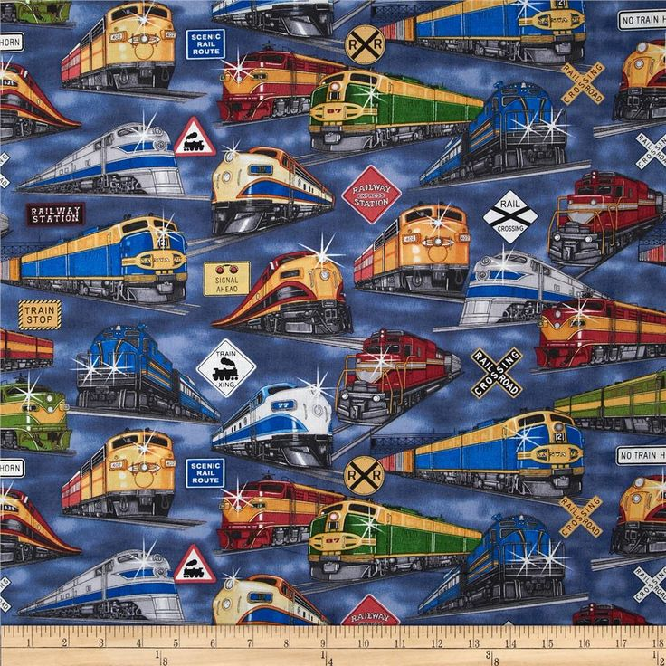 Right On Track Trains Blue from @fabricdotcom  Designed by Dan Morris for RJR Fabrics, this fabric is perfect for quilting, apparel and home decor accents. Colors include red, gold, green, black, grey, white, yellow and blue.