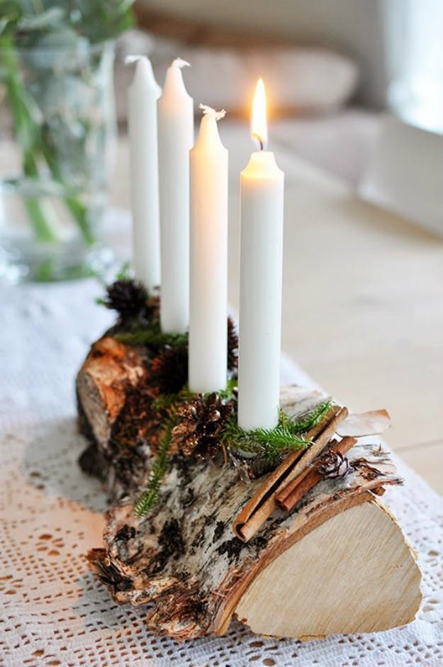 Log Candle Holder | Awesome Wood Crafts to Beautify Your Home This Winter