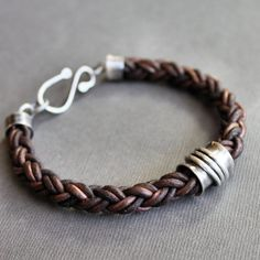 Mens Leather Bracelet Thick Brown Braid & Sterling Silver Tube. It's hard to create jewelry for men...!