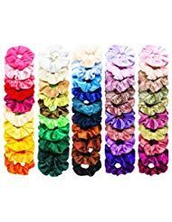 FAMINESS 50 Piece Velvet Hair Ties | 50 Colors Ela…