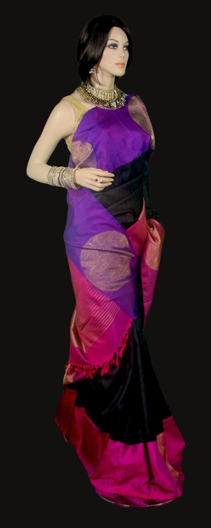 Black Kanjeevaram Saree with Double Color Border