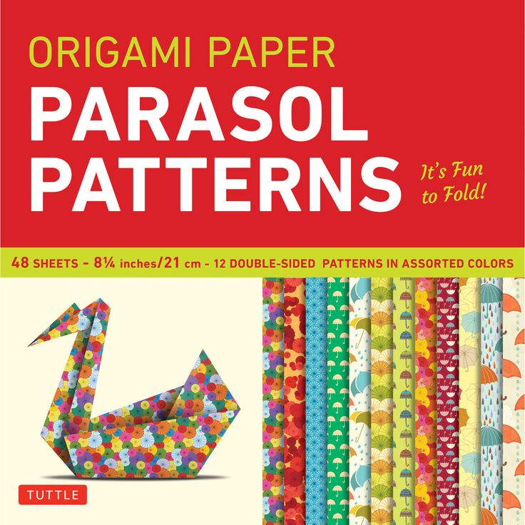This origami pack contains 48 high-quality origami sheets printed with colorful parasol patterns.