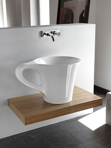 a creative idea for a sink: Cups Sinks, Idea, Coff Lovers, Cups Of Coff, Cool Sinks, Coffee Cups, Dinners Parties, Coff Cups, Bathroom Basin