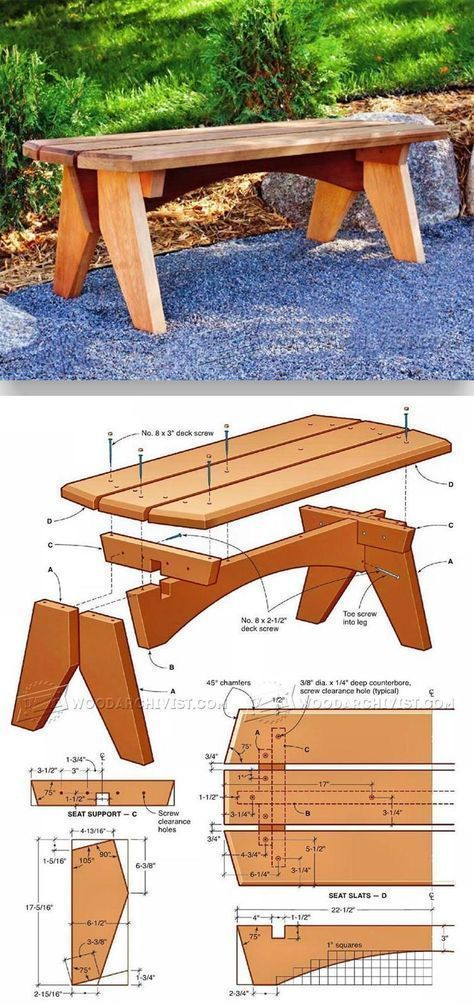 Outdoor Bench Plans - Outdoor Furniture Plans and Projects | WoodArchivist.com #WoodworkingBench