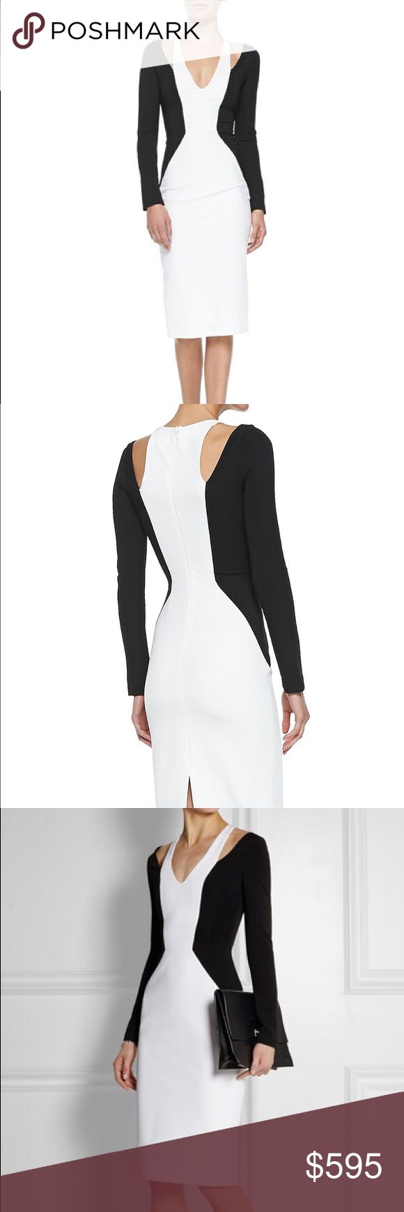 """Cushnie et oche Power pencil body con dress new! Cushnie et Ochs colorblock jersey power pencil dress. Designer size 8. Follows modern size guide, (runs small/tight) Deep V neckline. Cold-shoulder long sleeves. Nips in at natural waist. Straight skirt with back slit; straight hem. Hidden back zip. Sheath silhouette. Viscose/nylon/spandex; silk/spandex lining. Made in USA.   Model's measurements first 2 images: Height 5'10""""/177cm, bust 34""""/86cm, waist 24""""/61cm, hips 35""""/89cm, dress size US 2…"""