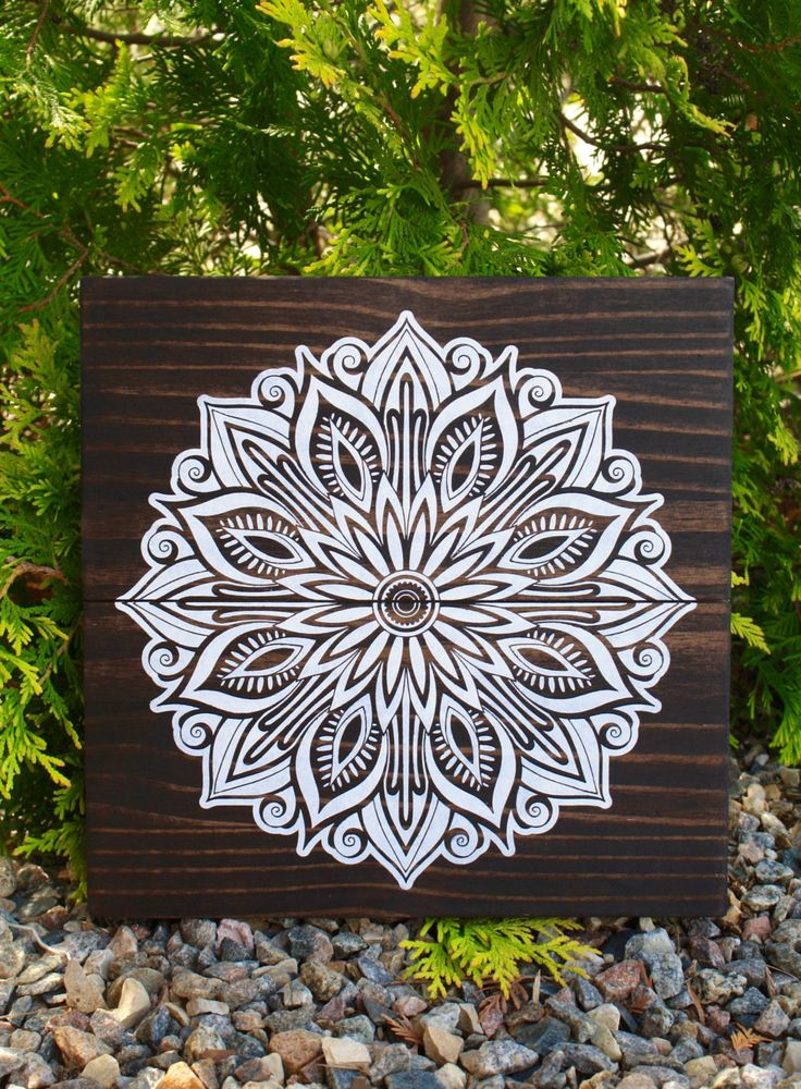 Wood Wall Art, Detailed Mandala, Modern Mandala, Painted Mandala, Swirly Mandala, Wooden Wall Décor, Wood Home Décor, Wooden Sign, Nature by parkhillartistry on Etsy