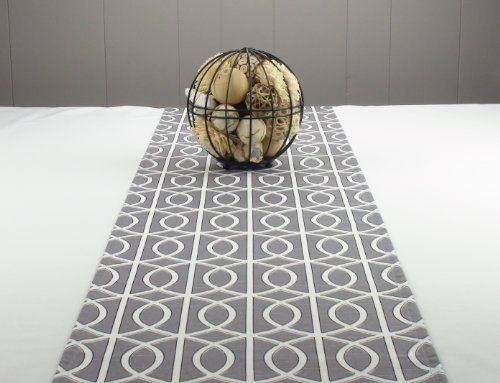 Modern Grey Table Runner 108 Inch Long   Grey And White Table Runner   Grey  Bridges