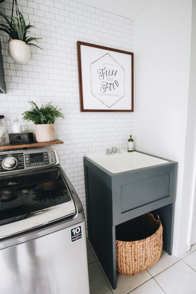 How To Hide Your Utility Sink Faux Cabinet Tutorial Laundry Room Utility Sink Utility Sink