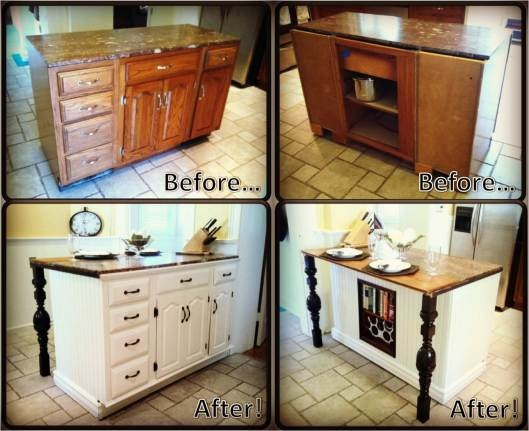 Easy fix to get new counter top and add legs - DIY Kitchen Island Renovation