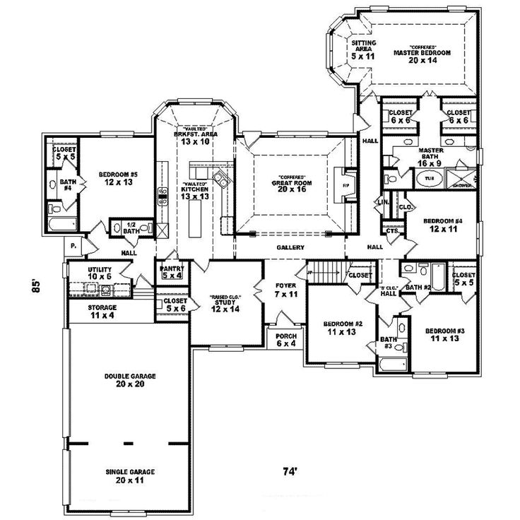 Earline ranch home luxury house plans 3 car garage and for Southern luxury house plans
