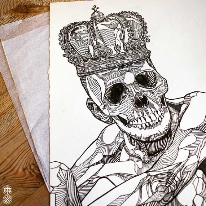 LUKE DIXON - SkeleKing - Original Artwork - Ink Drawing