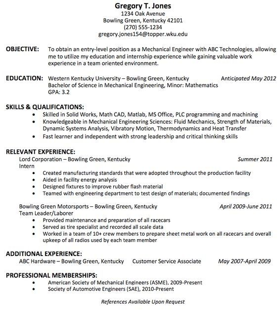 What Is The Best Resume Title For Mechanical Engineer Fresher Quora