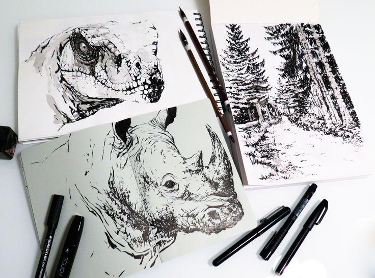 Ink sketches by Magdalena Dymańska