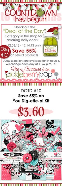 DOTD #10 is in the shop! Save 55% on my YOU Dig-ette-al Kit! You know the routine...this deal is only available for 24 hours, so shop fast!  Be sure to check out all of the DOTD goodies at https://www.pickleberrypop.com/shop/home.php?cat=111