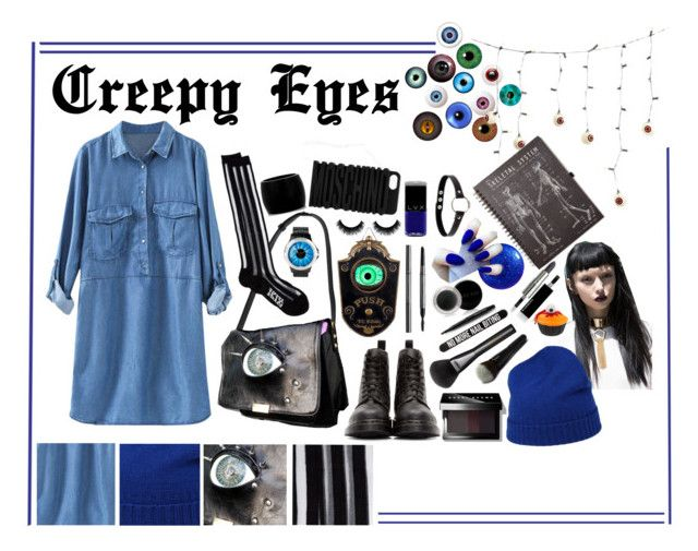 """""""Creepy Eyes"""" by melaccamarina on Polyvore featuring moda, DKNY, Dr. Martens, Kokon To Zai, Demonia, Moschino, Burberry, Mary Kay, Bershka e Bobbi Brown Cosmetics"""