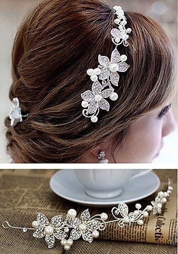 Diadema para boda - Crystal pearl flower headband de ACCESORIOS PARA EL PELO -  HAIR ACCESORIES por DaWanda.com