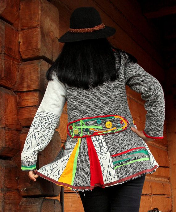 Crazy art recycled coat jacket. Made from recycled clothing. Appliqued. No wool! Mixed terylene and cotton. Open with one snap. Remade, reused and